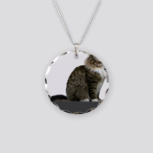 maine coon sitting tabby white Necklace
