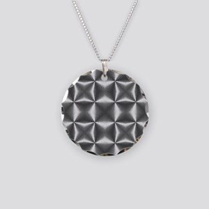 silver geometric pattern ind Necklace Circle Charm