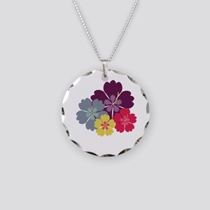 Colourful hibiskus flowers Necklace Circle Charm