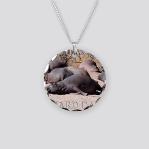 Hard Day Hippos Necklace Circle Charm