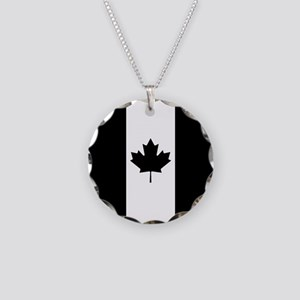 Canada: Black Military Flag Necklace Circle Charm
