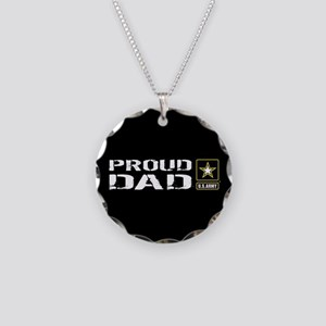 U.S. Army: Proud Dad (Black) Necklace Circle Charm