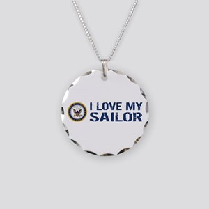 U.S. Navy: I Love My Sailor Necklace Circle Charm