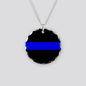 Police: The Thin Blue Line Necklace Circle Charm