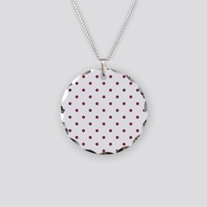 Purple, Mulberry: Polka Dots Necklace Circle Charm