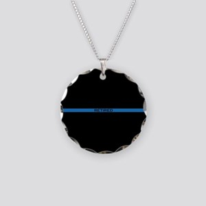 Retired Thin Blue Line Necklace Circle Charm