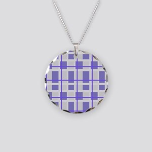 Purple and Gray Plaid Necklace Circle Charm