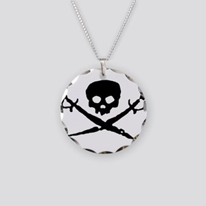 skull2-w Necklace Circle Charm