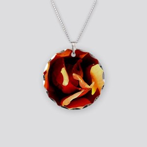 Painted Rose Necklace Circle Charm