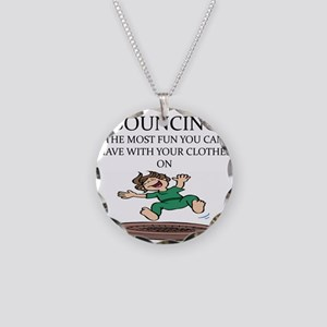 i love trampolines Necklace Circle Charm