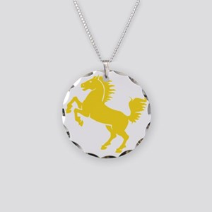 Yellow Stallion Necklace Circle Charm