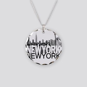 New York Skyline Necklace Circle Charm
