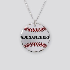 Personalized Baseball Red/White Necklace