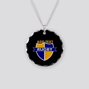 Rugby Crest Blue Gold BlkPz Necklace Circle Charm