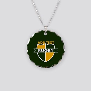 Rugby Crest Green Gold GrnPz Necklace Circle Charm