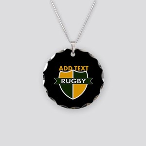 Rugby Crest Green Gold BlkPz Necklace Circle Charm