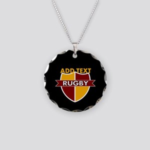 Rugby Crest Maroon Gold blkpz Necklace Circle Char