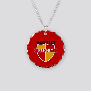 Rugby Crest Red Gold rdpz Necklace Circle Charm