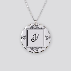 Fancy letter F monogram Necklace Circle Charm