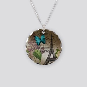 paris lilac butterfly eiffel tower Necklace Circle