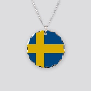 Flag of Sweden Necklace Circle Charm