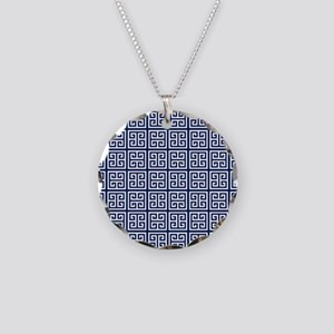 Blue Greek Key Pattern Necklace