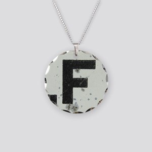 Letter F Necklace Circle Charm