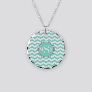 3 Letter Mint Blue-Green Gray Monogram Chevron Nec