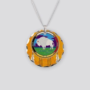 White Buffalo Necklace Circle Charm
