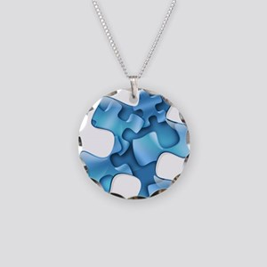 puzzle-v2-blue Necklace Circle Charm