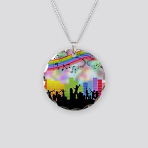 Colorful Musical Theme Necklace Circle Charm