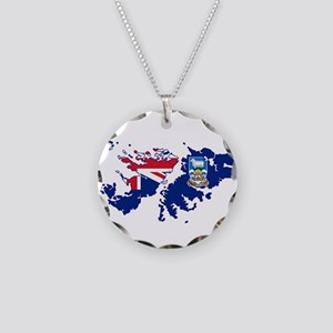 Falkland Islands Silhouette Necklace Circle Charm