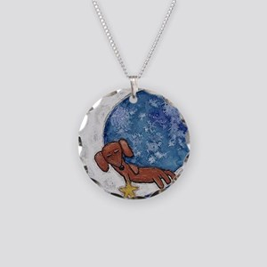 Dachshund on the Moon Necklace Circle Charm