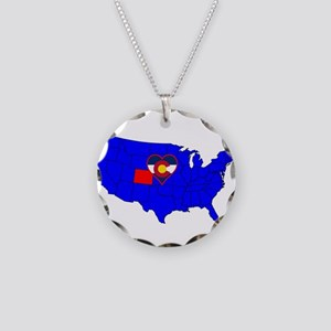 State of Colorado Necklace Circle Charm