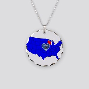 State of Wisconsin Necklace Circle Charm