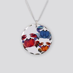 Blue & Red Mosaic Crab Trio Necklace Circle Charm