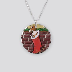 Piebald Christmas Necklace Circle Charm