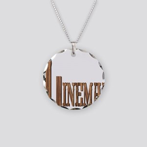 Lineman Wood Necklace Circle Charm