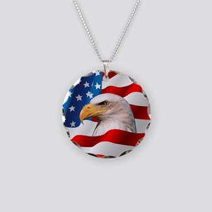 Bald Eagle On American Flag Necklace Circle Charm