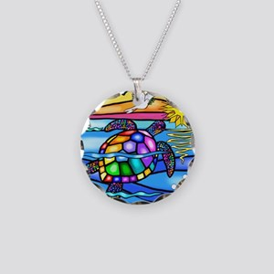 Sea Turtle 8 - square Necklace Circle Charm