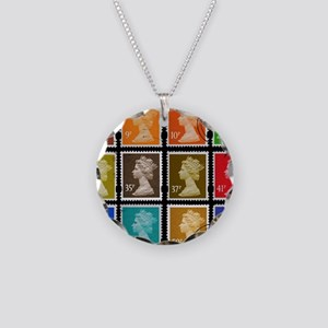 UK Stamps Necklace Circle Charm