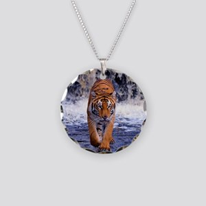 Tiger In Waterfall Necklace Circle Charm