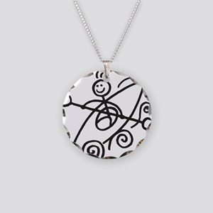 happy kayak black Necklace Circle Charm