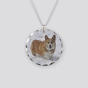 Red and White Corgi in the S Necklace Circle Charm