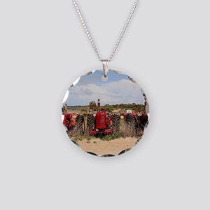 Old farm tractors machinery Necklace Circle Charm