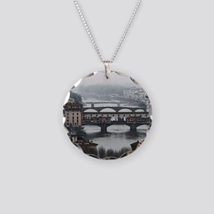 Bridges of Florence Italy Necklace Circle Charm