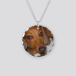 Dachshund note cards Necklace Circle Charm