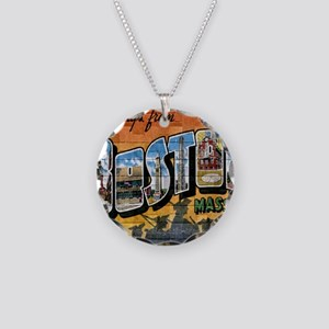 Greetings from Boston Necklace Circle Charm