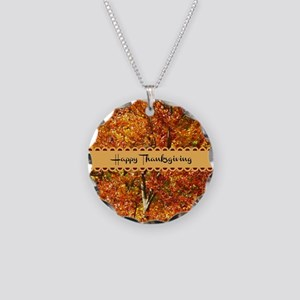 Happy Thanksgiving - Autumn  Necklace Circle Charm