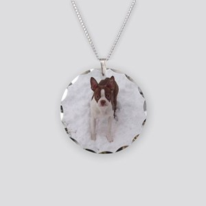 Red Boston Terrier Necklace Circle Charm